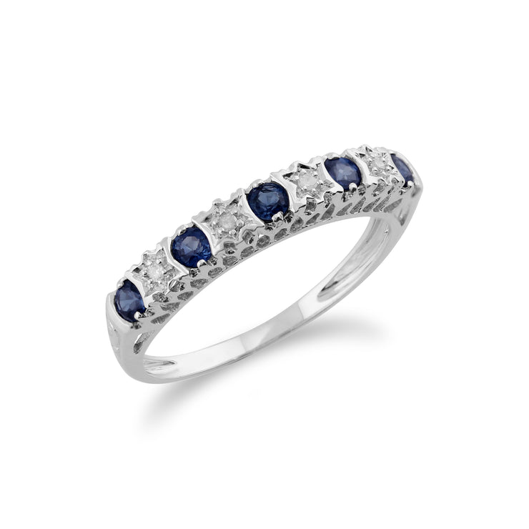 Classic Round Sapphire & Diamond Half Eternity Band in 9ct White Gold Side