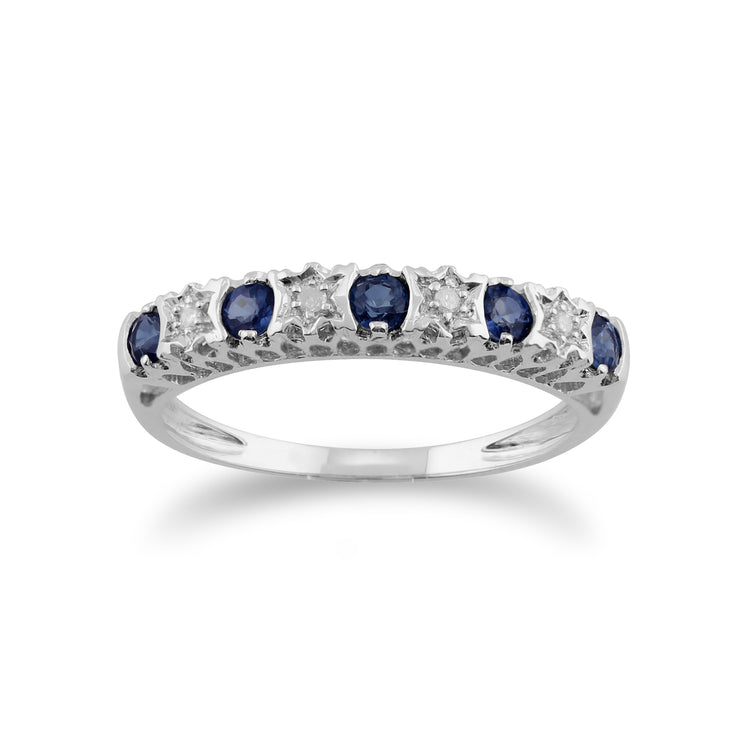 Classic Round Sapphire & Diamond Half Eternity Band in 9ct White Gold