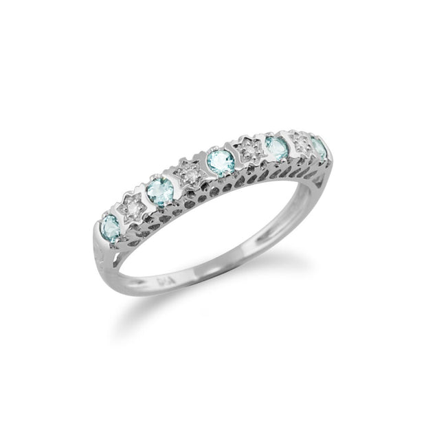 Classic 9ct White Gold Round Diamond and Aquamarine Half Eternity Ring