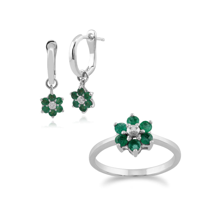 Floral Round Emerald & Diamond Drop Earrings & Ring Set in 9ct White Gold