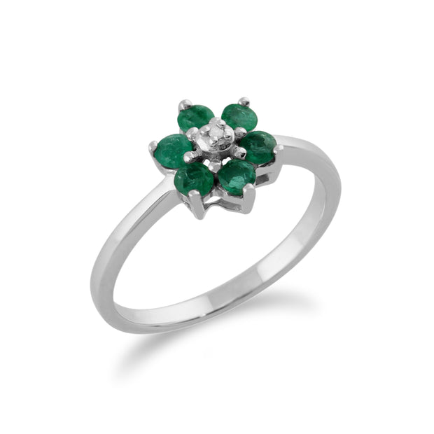 Floral Round Emerald & Diamond Cluster Ring in 9ct White Gold
