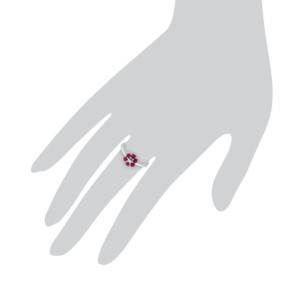 Floral Round Ruby & Diamond Cluster Ring in 9ct White Gold