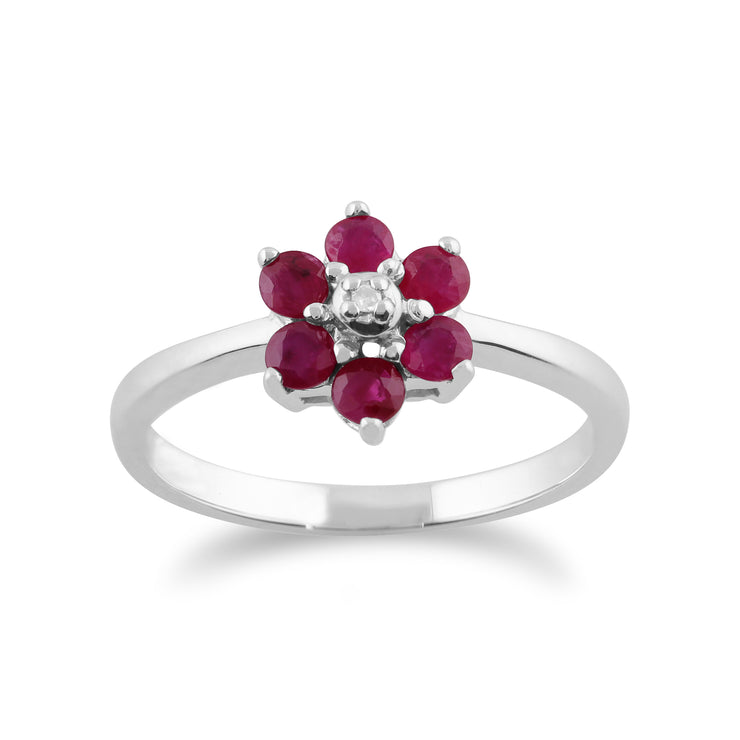 Floral Round Ruby & Diamond Flower Drop Earrings & Ring Set in 9ct White Gold