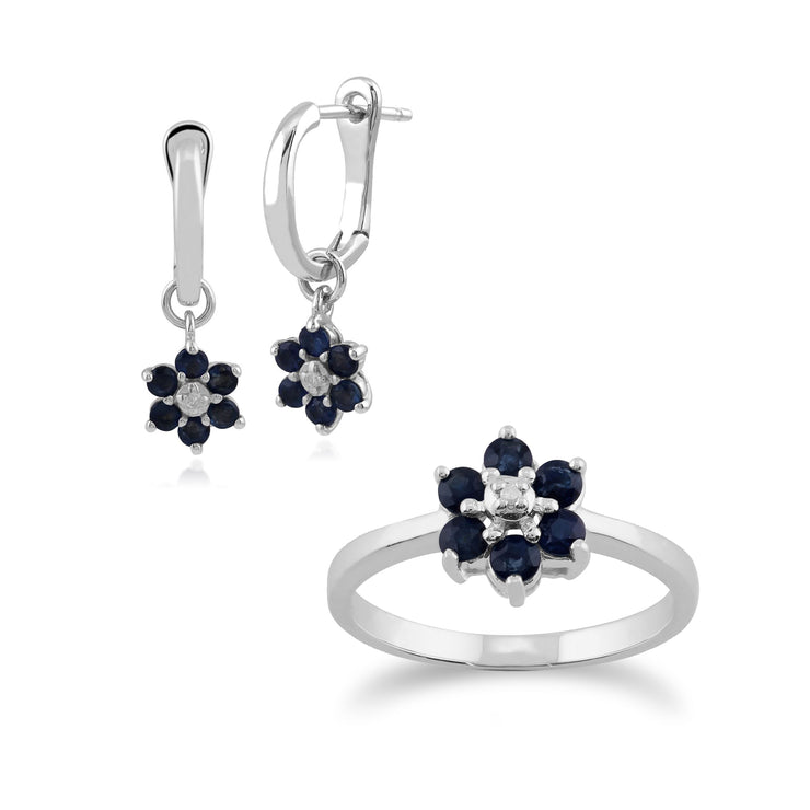 Floral Round Sapphire & Diamond Flower Drop Earrings & Ring Set in 9ct White Gold
