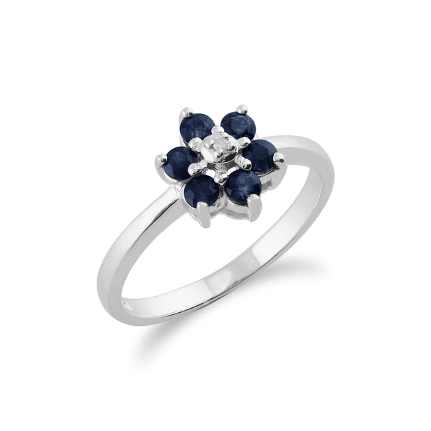 Floral Round Sapphire & Diamond Cluster Ring in 9ct White Gold Side