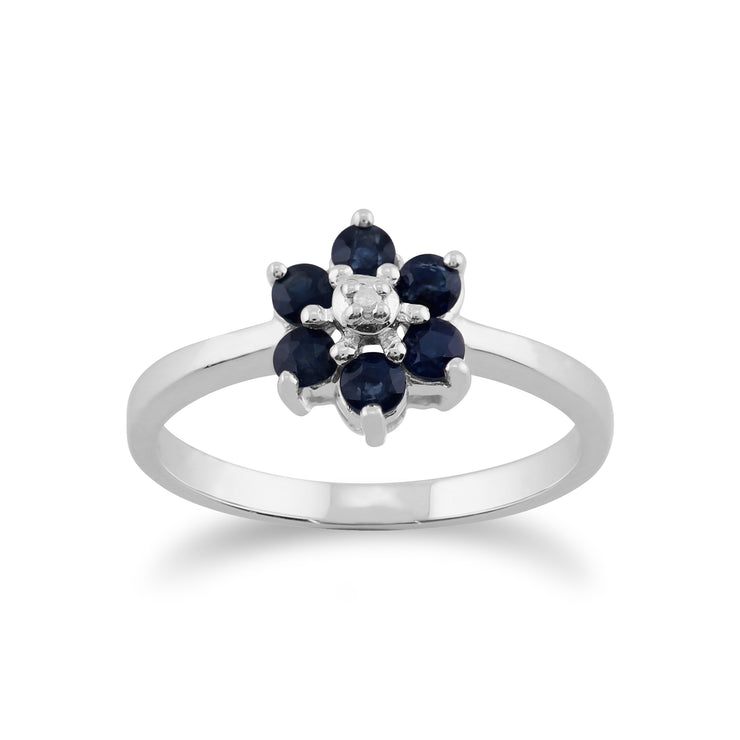 Floral Round Sapphire & Diamond Cluster Ring in 9ct White Gold