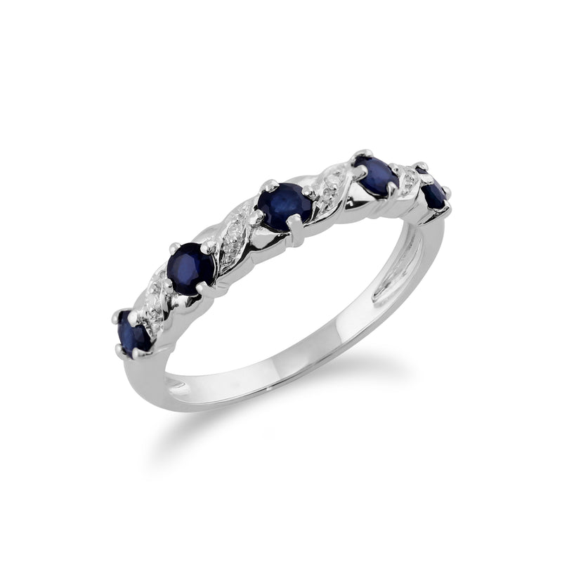 Classic Round Sapphire & Diamond Half Eternity Ring in 9ct White Gold