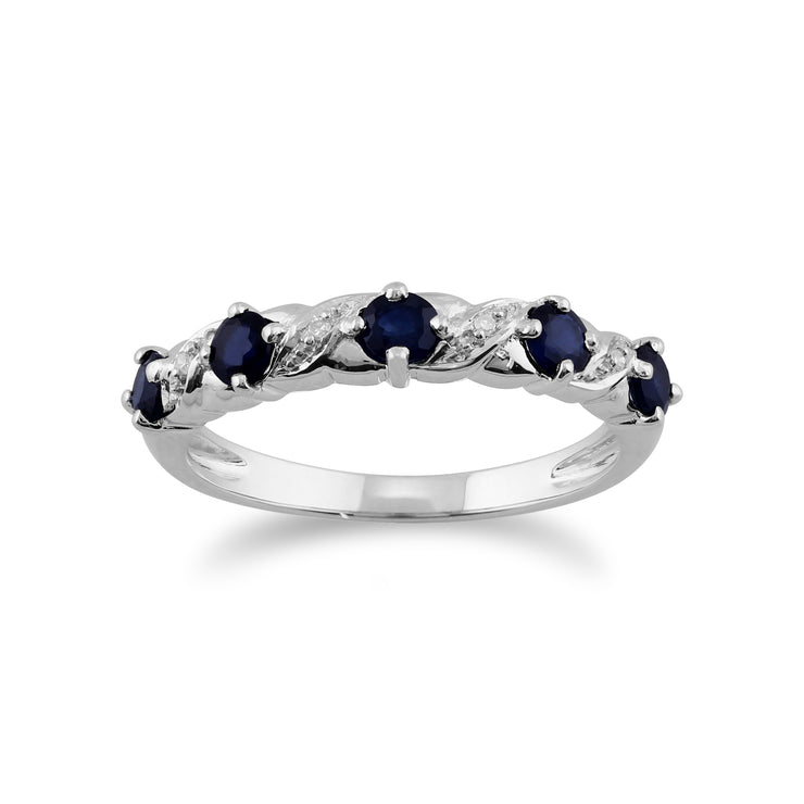 Classic Round Sapphire & Diamond Half Eternity Ring in White Gold