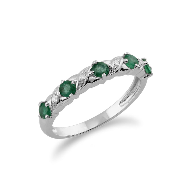 10ct White Gold Emerald & Diamond Half Eternity Band Ring