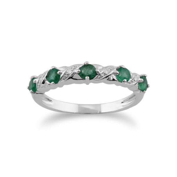 Classic Round Emerald & Diamond Half Eternity Ring in 9ct White Gold