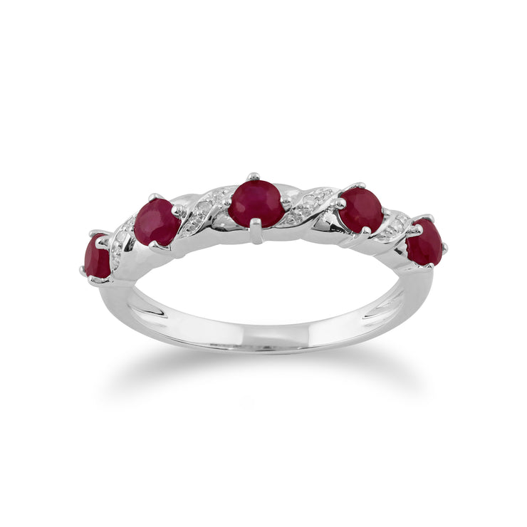 10ct White Gold Ruby & Diamond Half Eternity Style Ring