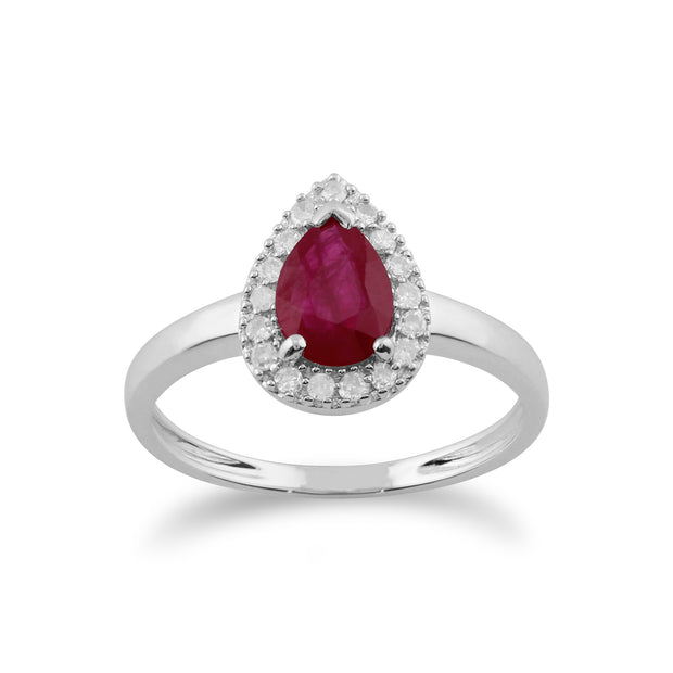 Classic Pear Ruby & Diamond Cluster Ring in 9ct White Gold