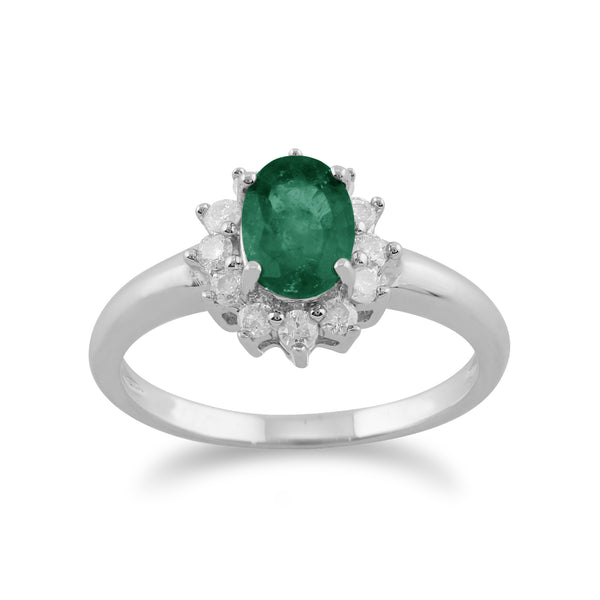 Classic Pear Emerald & Diamond Cluster Ring in 9ct White Gold