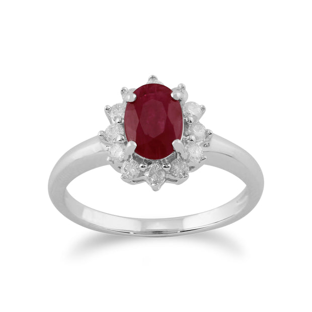 Classic Oval Ruby & Diamond Cluster Ring in 9ct White Gold