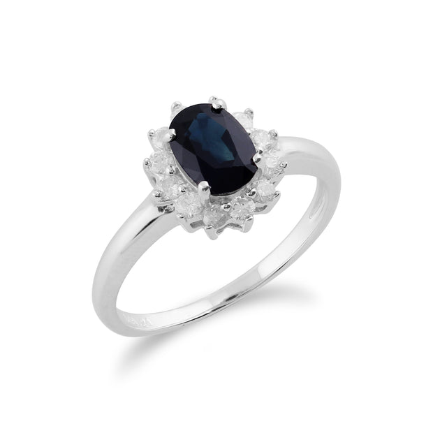 Classic Oval Sapphire & Diamond Cluster Ring in 9ct White Gold