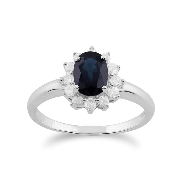 Classic Oval Sapphire & Diamond Cluster Ring in White Gold