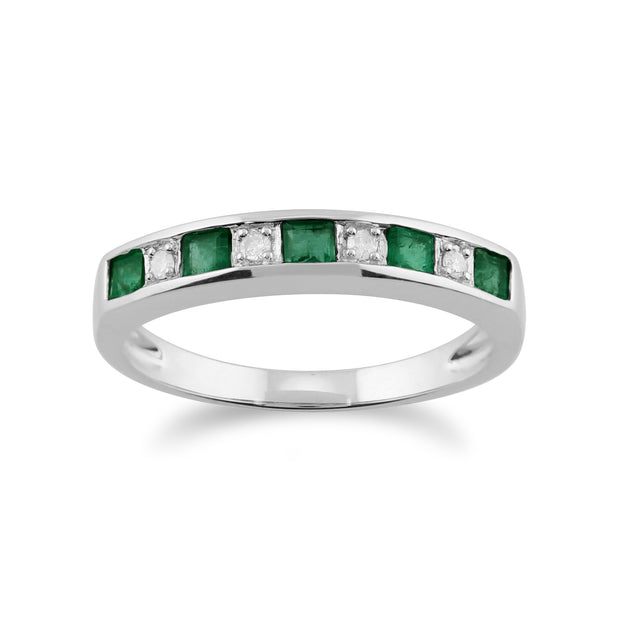 Classic Square Emerald & Diamond Half Eternity Ring 9ct White Gold