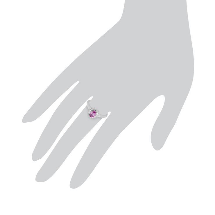 Classic Oval Pink Sapphire & Diamond Cluster Ring in 9ct White Gold Scale Image