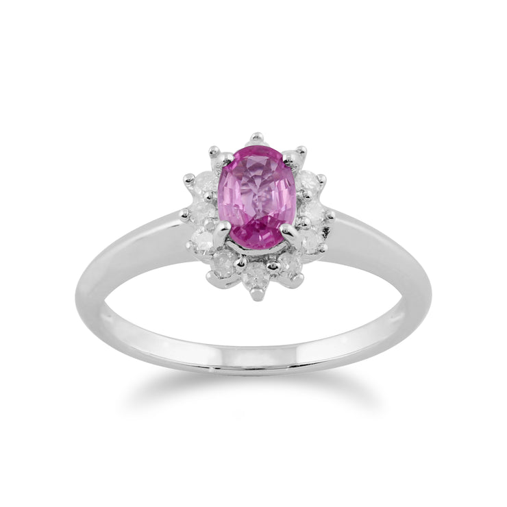 Classic Oval Pink Sapphire & Diamond Cluster Ring in 9ct White Gold