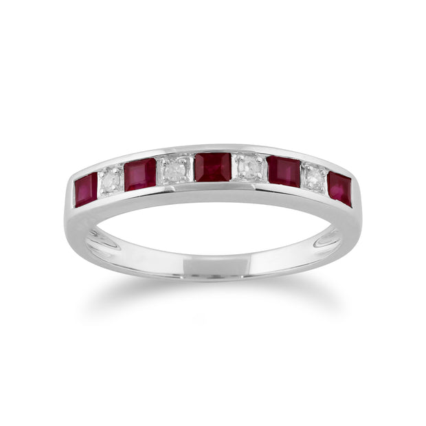 Classic Square Ruby & Diamond Half Eternity Ring 9ct White Gold