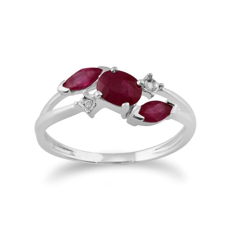 Classic Oval Ruby & Diamond Crossover Ring in 9ct White Gold