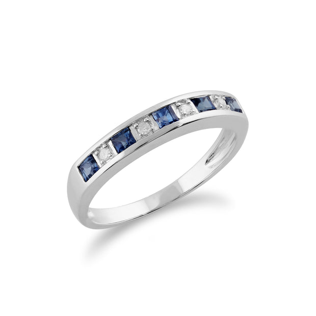 Classic Square Light Blue Sapphire & Diamond Half Eternity Ring in 9ct White Gold Side Image