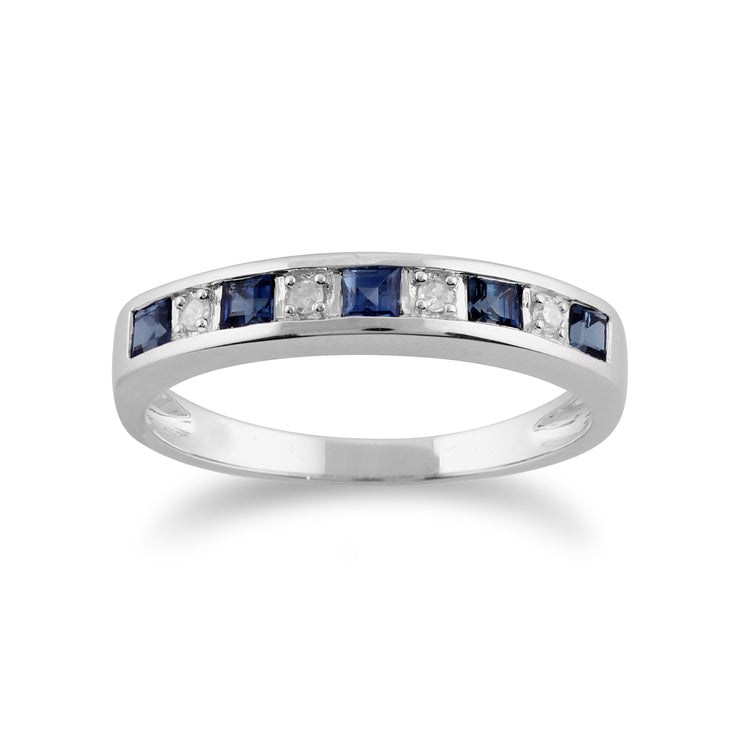 Classic Square Light Blue Sapphire & Diamond Half Eternity Ring in 9ct White Gold