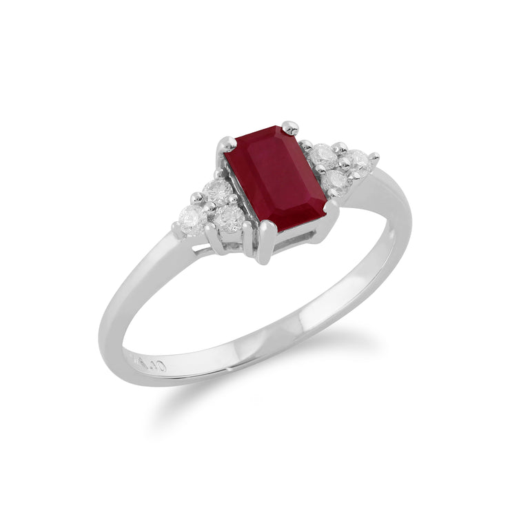 Classic Baguette Ruby & Diamond Ring in 9ct White Gold