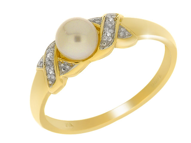 9ct Yellow Gold 0.71ct Pearl & Diamond Ring Image 1