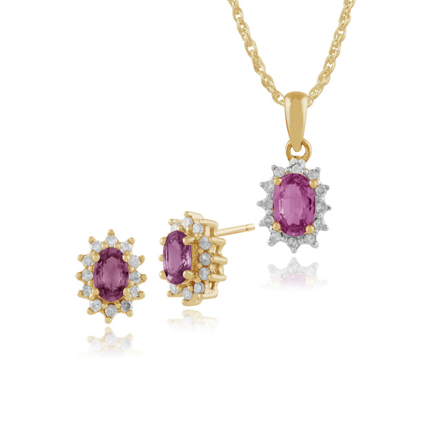 Classic Pear Pink Sapphire & Diamond Cluster Stud Earrings & Pendant Image 1
