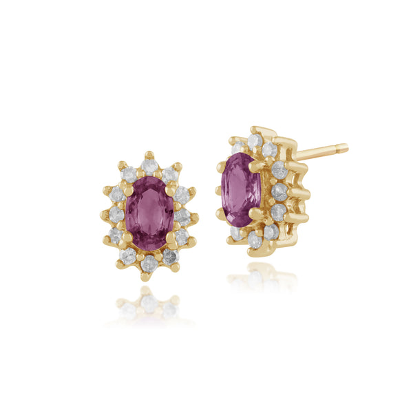 Classic Oval Pink Sapphire & Diamond Cluster Stud Earrings in 9ct Yellow Gold