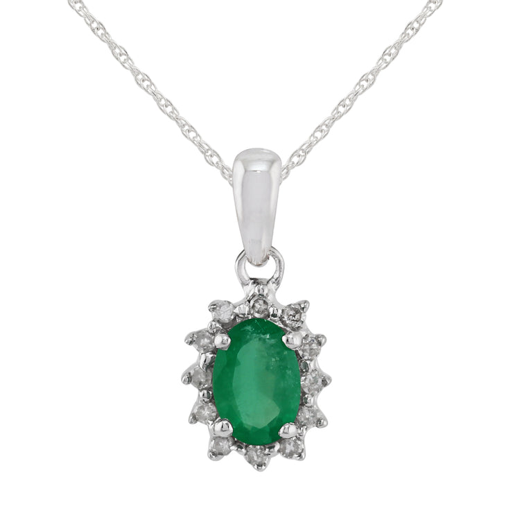 Classic Oval Emerald & Diamond Cluster Pendant in 9ct White Gold