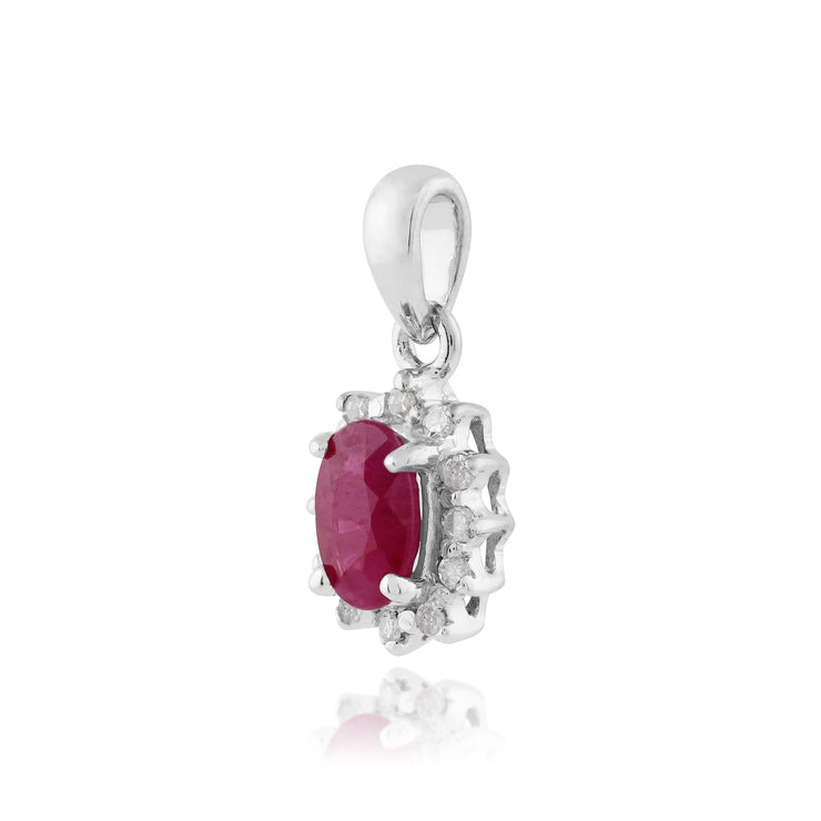 Classic Oval Ruby & Diamond Cluster Pendant in 9ct White Gold