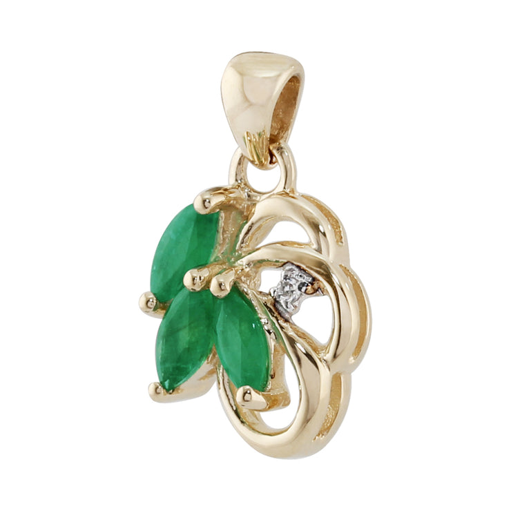 Floral Emerald & Diamond Pendant in 9ct Yellow Gold