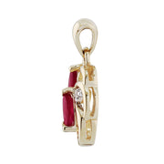 Floral Ruby & Diamond Pendant in 9ct Yellow Gold