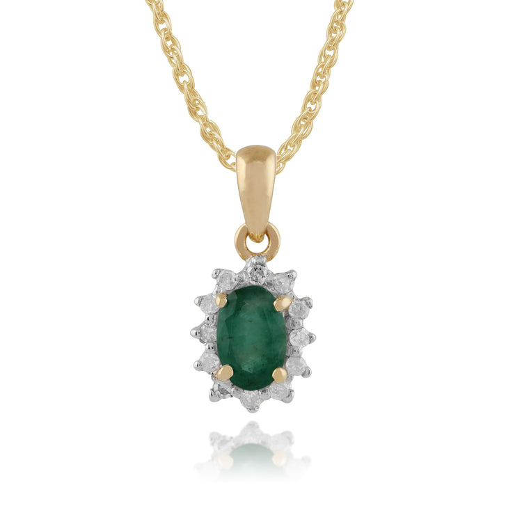 Classic Oval Emerald & Diamond Cluster Pendant in 9ct Yellow Gold