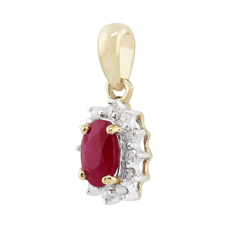 Classic Oval Ruby & Diamond Cluster Pendant in 9ct Yellow Gold