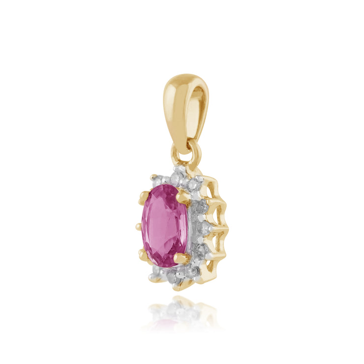 Classic Oval Pink Sapphire & Diamond Cluster Pendant in 9ct Yellow Gold