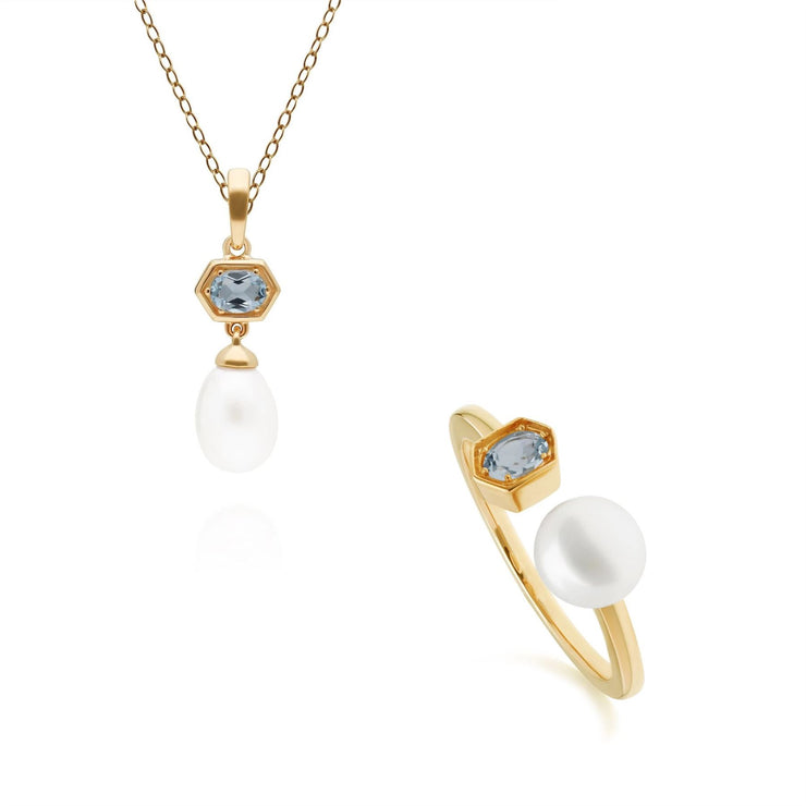 Modern Pearl & Blue Topaz Pendant & Ring Set in Gold Plated Sterling Silver
