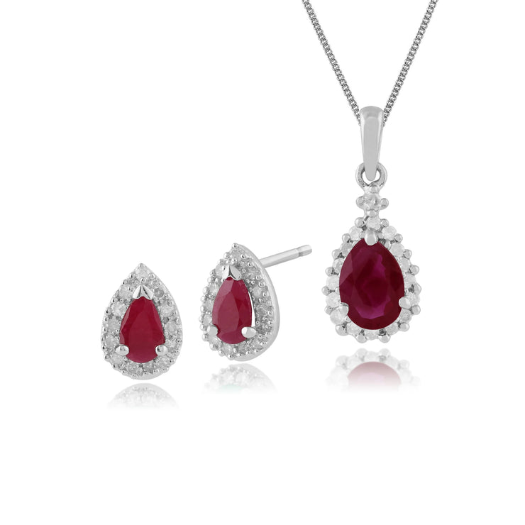 Classic Pear Ruby & Diamond Halo Stud Earrings & Pendant Set in 9ct White Gold