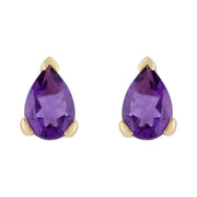 Classic Pear Amethyst Stud Earrings in 9ct Yellow Gold