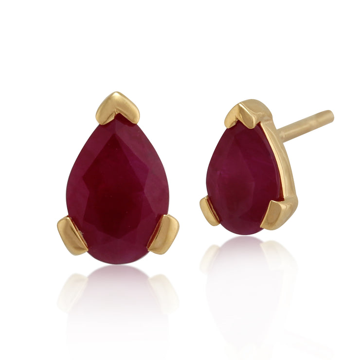 10ct Yellow Gold Ruby Single Stone Pear Stud Earrings