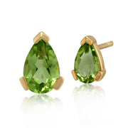 Classic Pear Peridot Stud Earrings in 9ct Yellow Gold 6.5x4mm