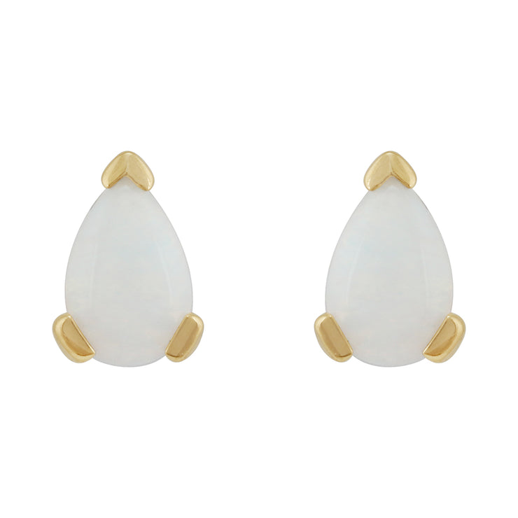 Classic Pear Opal Stud Earrings in 9ct Yellow Gold 6.5x4mm