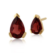 Classic Pear Garnet Stud Earrings in 9ct Yellow Gold
