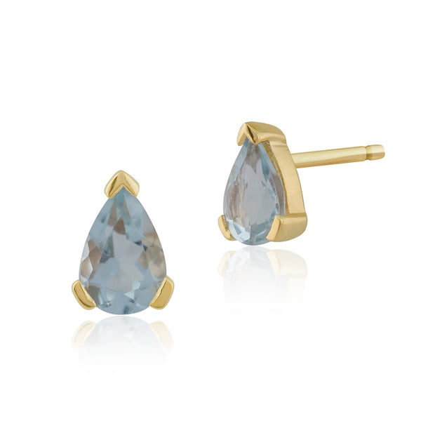Classic Pear Aquamarine Stud Earrings in 9ct Yellow Gold 6.5x4mm