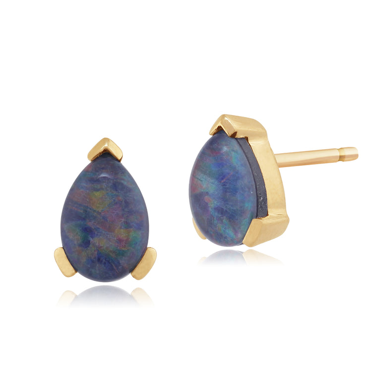 Classic Pear Triplet Opal Stud Earrings in 9ct Yellow Gold 6.5x4mm