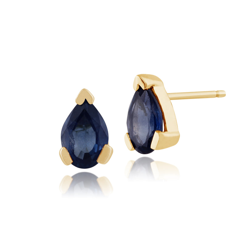 Classic Pear Sapphire Stud Earrings in 9ct Yellow Gold 6.5x4mm