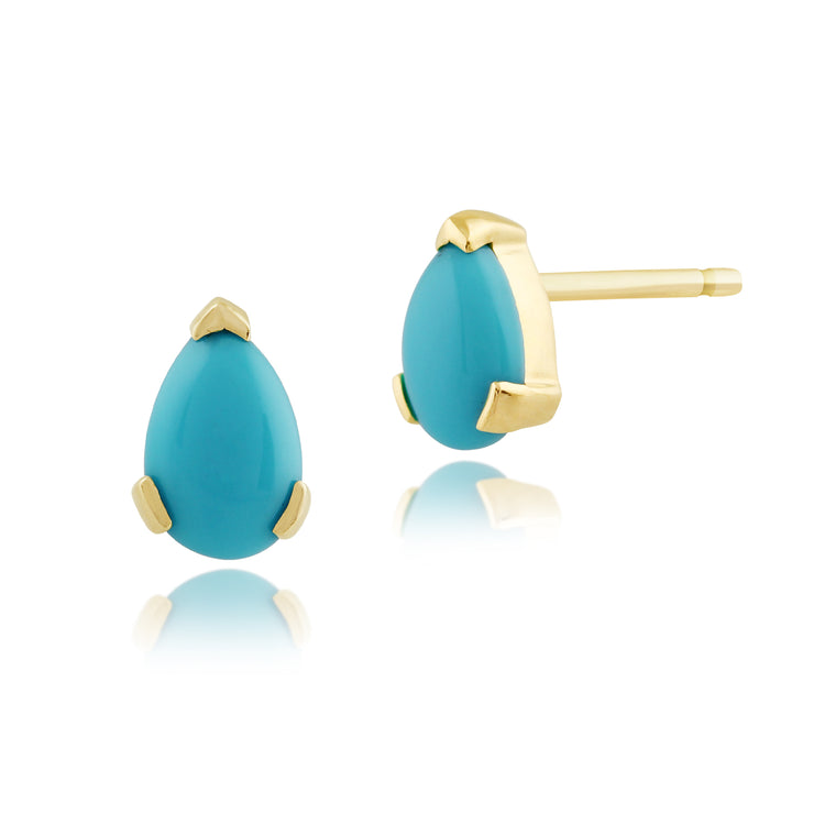 Classic Pear Turquoise Stud Earrings in 9ct Yellow Gold 6.5x4mm
