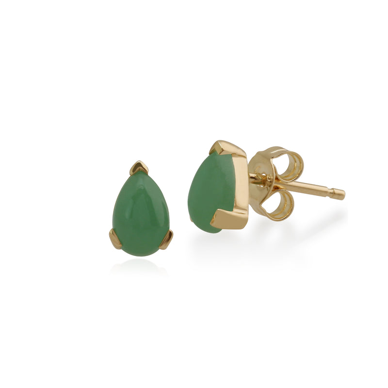 Classic Pear Green Jade Claw Set Stud Earrings in 9ct Yellow Gold
